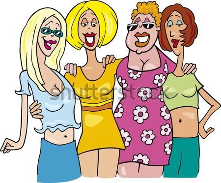 women cartoon illustration gemini sign Stock photo © izakowski