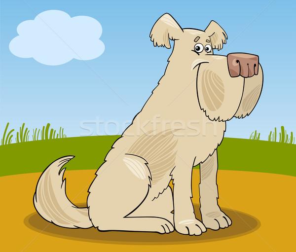 Juhászkutya kócos kutya rajz illusztráció vicces Stock fotó © izakowski