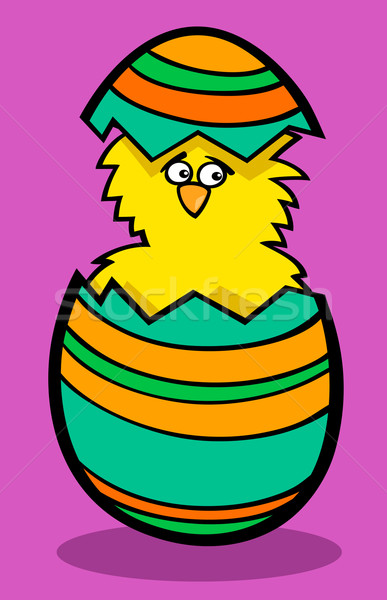 Chick easter egg cartoon illustratie grappig weinig Stockfoto © izakowski