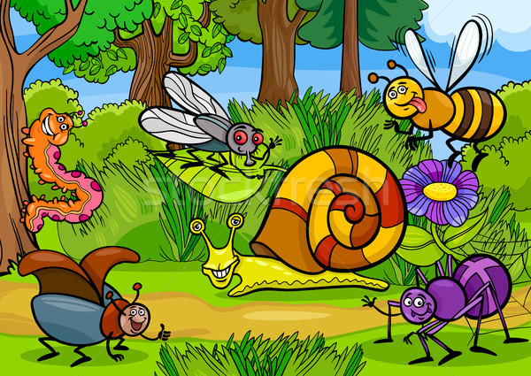 Stock photo: cartoon insects on nature rural scene