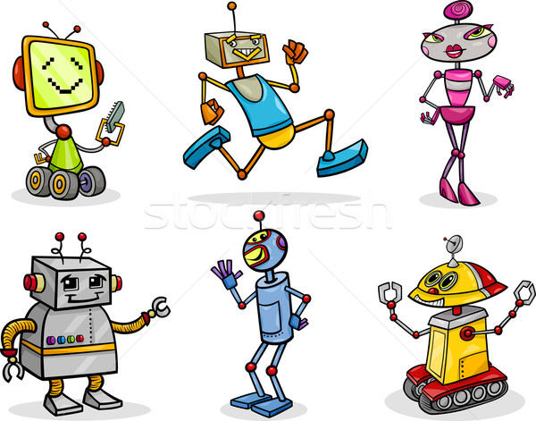 Robots cartoon illustration drôle enfants Photo stock © izakowski