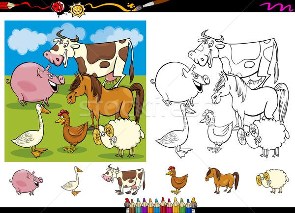 сельскохозяйственных животных страница набор Cartoon Cute Сток-фото © izakowski