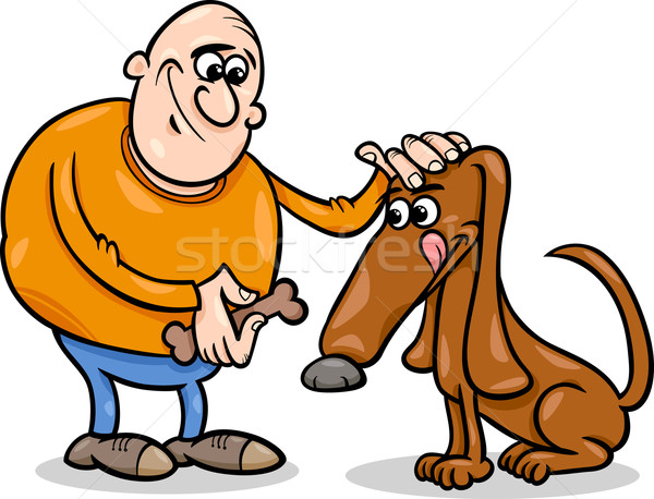 Man hond cartoon illustratie mannen snack Stockfoto © izakowski