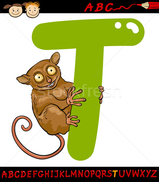 letter t for tarsier cartoon illustration Stock photo © izakowski