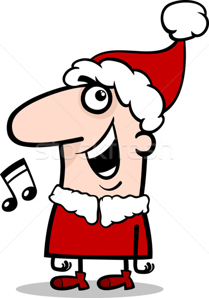 santa singing carol cartoon illustration Stock photo © izakowski