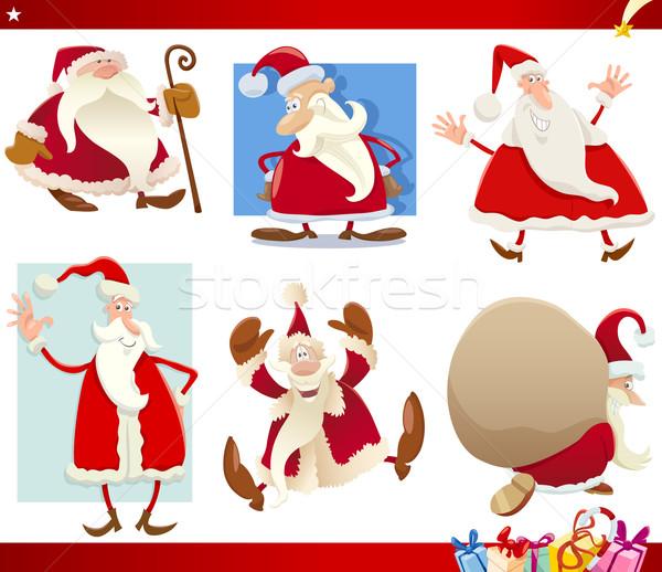 Kerstman christmas cartoon ingesteld illustratie presenteert Stockfoto © izakowski