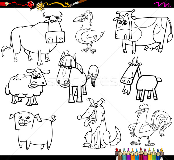Farm Animals Coloring Bookd Set Vector Illustration C Igor