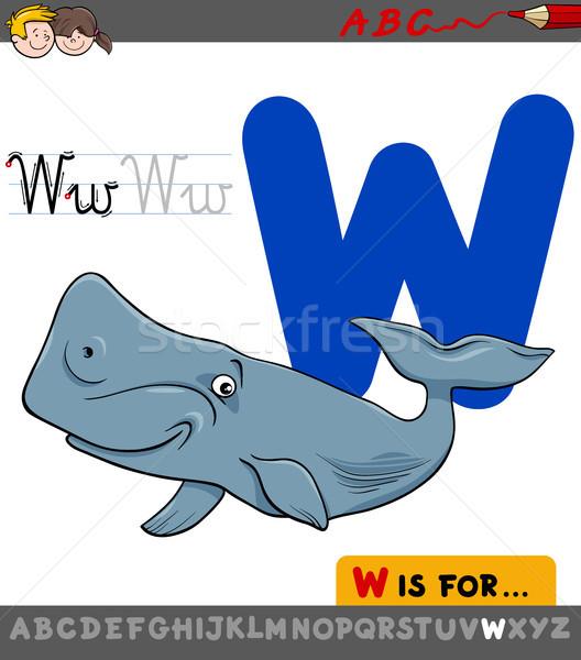 List w cartoon wielorybów zwierząt ilustracja Zdjęcia stock © izakowski