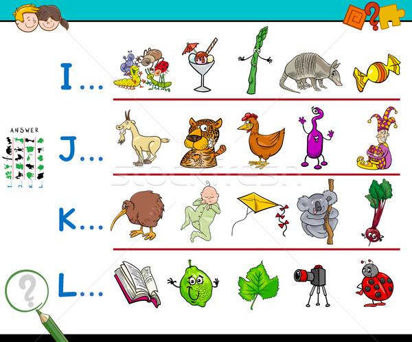 Primo lettera parola cartella di lavoro gioco cartoon Foto d'archivio © izakowski