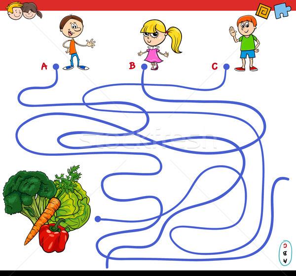 paths maze game with kids and vegetables Stock photo © izakowski
