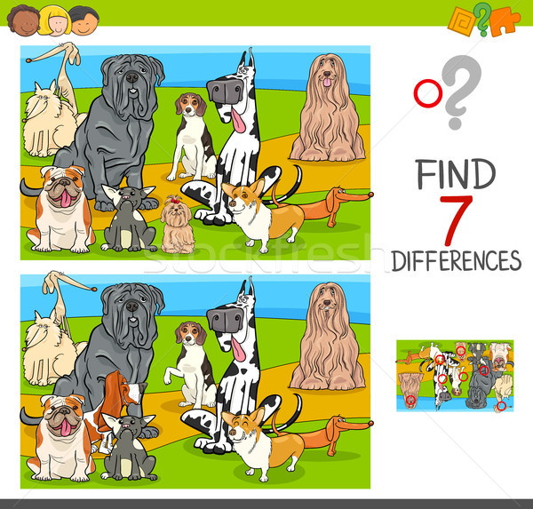 find differences game with dog characters Stock photo © izakowski