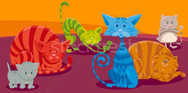 cats or kittens cartoon animal characters group Stock photo © izakowski