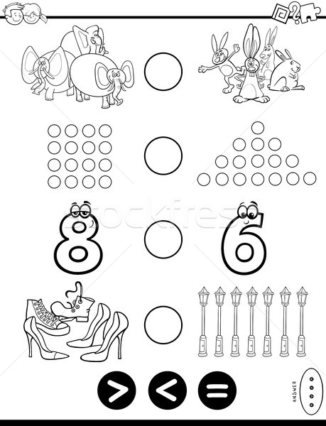 greater less or equal puzzle coloring book Stock photo © izakowski