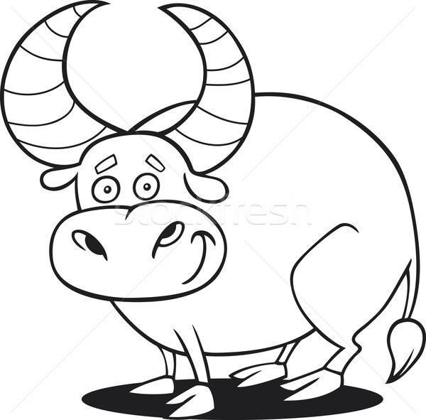 funny bull for coloring book Stock photo © izakowski