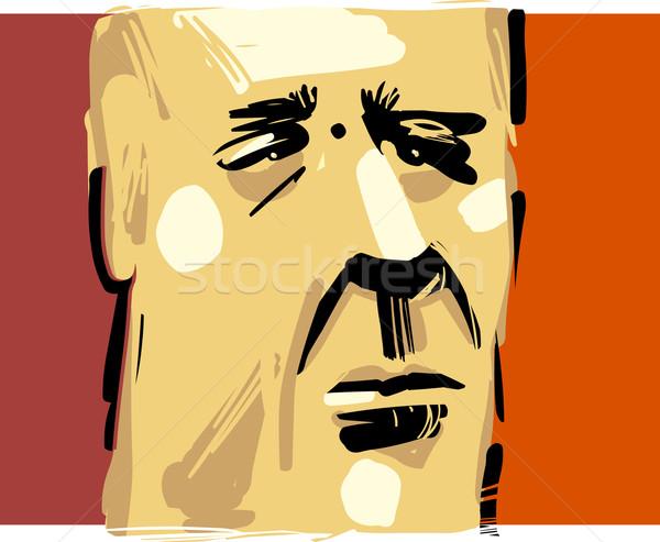 男 顔 芸術的 図面 実例 成人 ストックフォト © izakowski