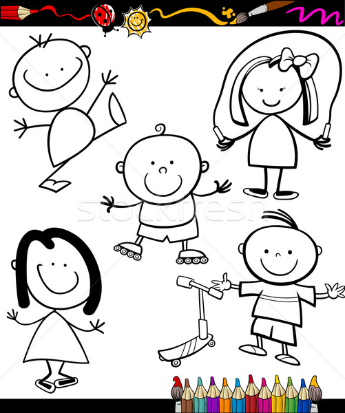 Heureux enfants cartoon livre de coloriage page illustration Photo stock © izakowski
