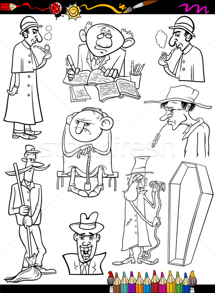 retro people set cartoon coloring page Stock photo © izakowski
