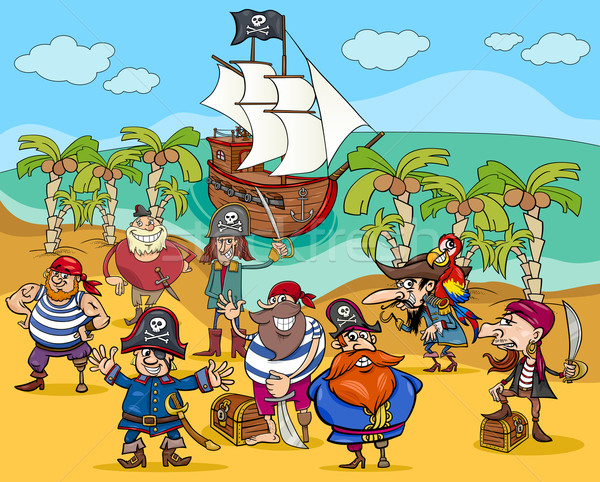 pirates on treasure island cartoon Stock photo © izakowski
