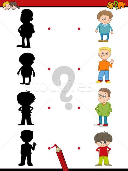 Stock foto: Vorschule · Schatten · Aktivität · Kinder · Karikatur · Illustration