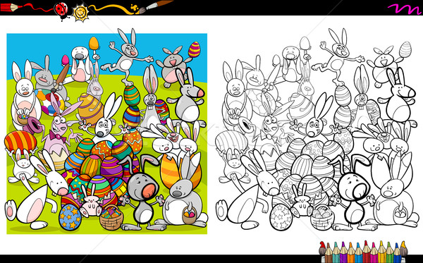 Stock photo: easter characters coloring book