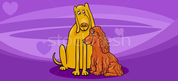 valentine card with dog couple Stock photo © izakowski
