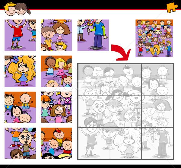 Kirakós játék gyerekek rajz illusztráció oktatás tevékenység Stock fotó © izakowski