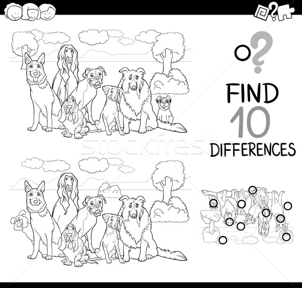 dog difference game coloring page Stock photo © izakowski