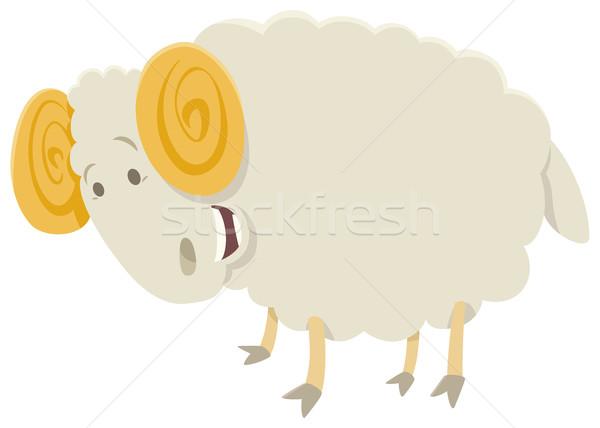 Funny baran zwierząt charakter cartoon ilustracja Zdjęcia stock © izakowski