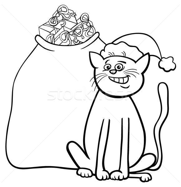 Kedi Noel Hediyeler Boyama Kitabı Siyah Beyaz