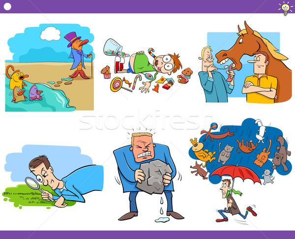 cartoon sayings or proverbs set Stock photo © izakowski