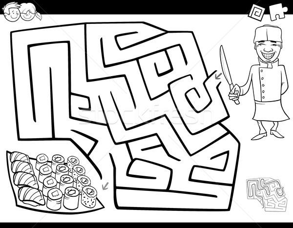 Labirinto gioco libro da colorare chef sushi bianco nero Foto d'archivio © izakowski