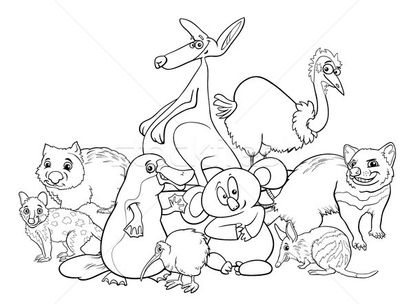 Australian animals cartoon coloring book Stock photo © izakowski