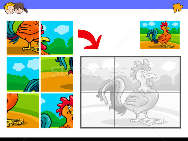 jigsaw puzzles with rooster animal character Stock photo © izakowski