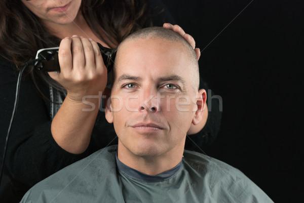 Stylist fej közelkép haj borotválás ügyfelek Stock fotó © jackethead