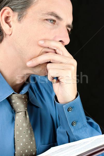 ビジネスマン 文書 クローズアップ 成功 思考 ストックフォト © jackethead