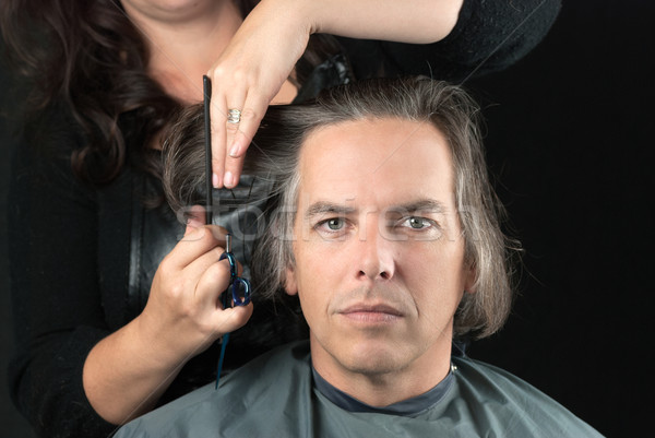 Man Getting Long Hair Cut Off For Cancer Fundraiser Stock photo © jackethead