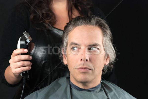 Lengte stilist haren gezicht man Stockfoto © jackethead