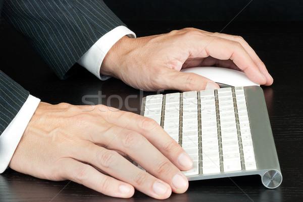 Stockfoto: Zakenman · computer · werken · internet