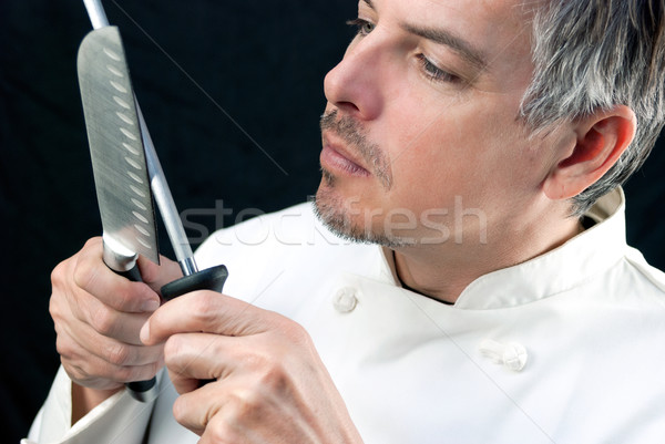 Stockfoto: Chef · mes · gezicht · persoon · professionele