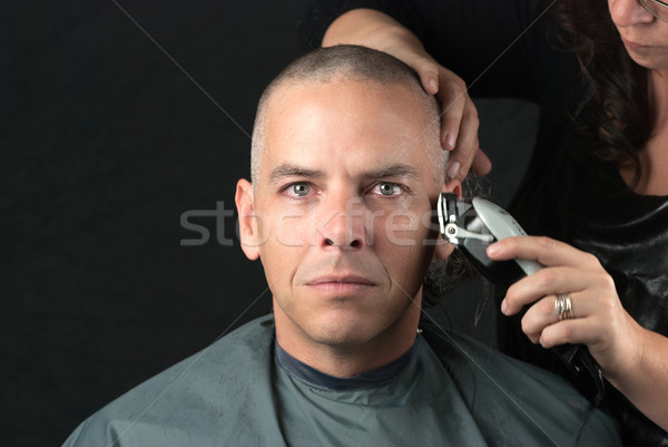 Mourning Man Gets Head Shaved For Fundraiser, Looks To Camera Stock photo © jackethead