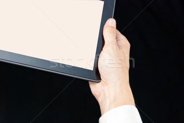 Stockfoto: Hand · tablet · sluiten · man