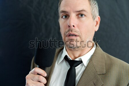 Focused Bald Man In Suit Stock photo © jackethead