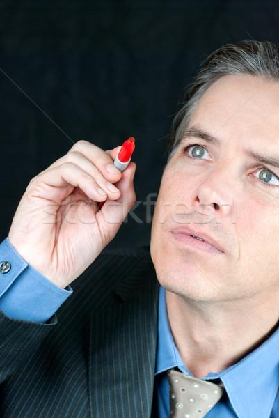 ビジネスマン 第4 壁 クローズアップ 書く ストックフォト © jackethead