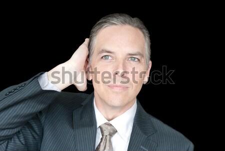 Happy Bald Man Feels Head Stock photo © jackethead