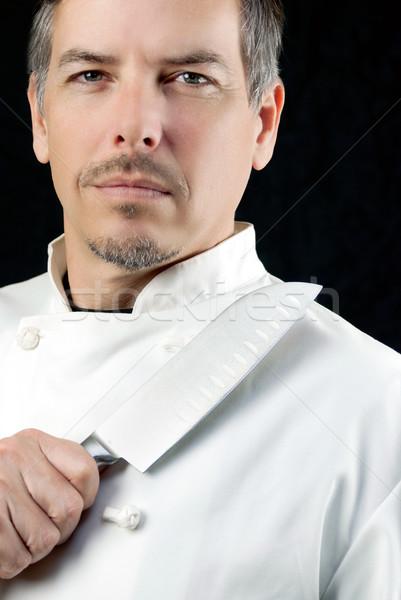 シェフ ナイフ 肖像 クローズアップ 顔 人 ストックフォト © jackethead