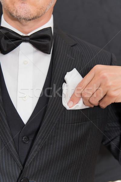 Cavalheiro preto amarrar bolso praça vertical Foto stock © jackethead