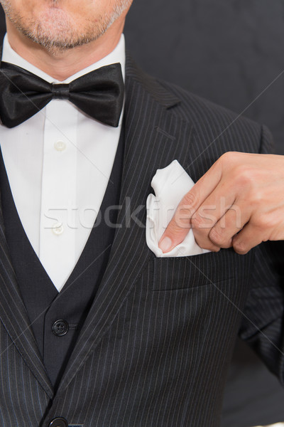 Stockfoto: Gentleman · zwarte · stropdas · zak · vierkante · verticaal