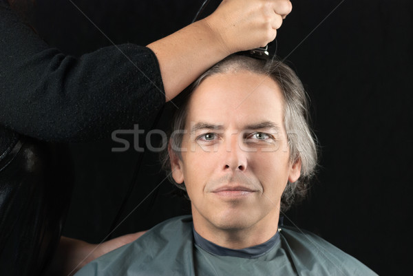Man Getting Long Hair Shaved Off For Cancer Fundraiser Stock photo © jackethead