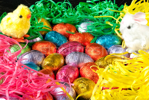 Colorful Easter Eggs and Grasses with Fluffy Chick and Bunny Toy Stock photo © jackethead