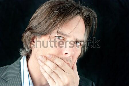 ビジネスマン こぶし 口 側面図 クローズアップ ストックフォト © jackethead